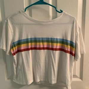 So White Rainbow Crop Tee